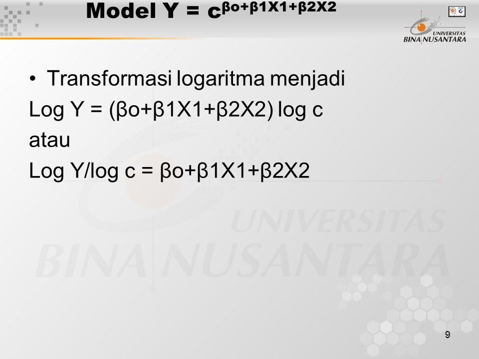 9 Model Y = c βo+β1X1+β2X2 Transformasi logaritma menjadi Log Y = (βo+β1X1+β2X2) log c atau Log Y/log c = βo+β1X1+β2X2