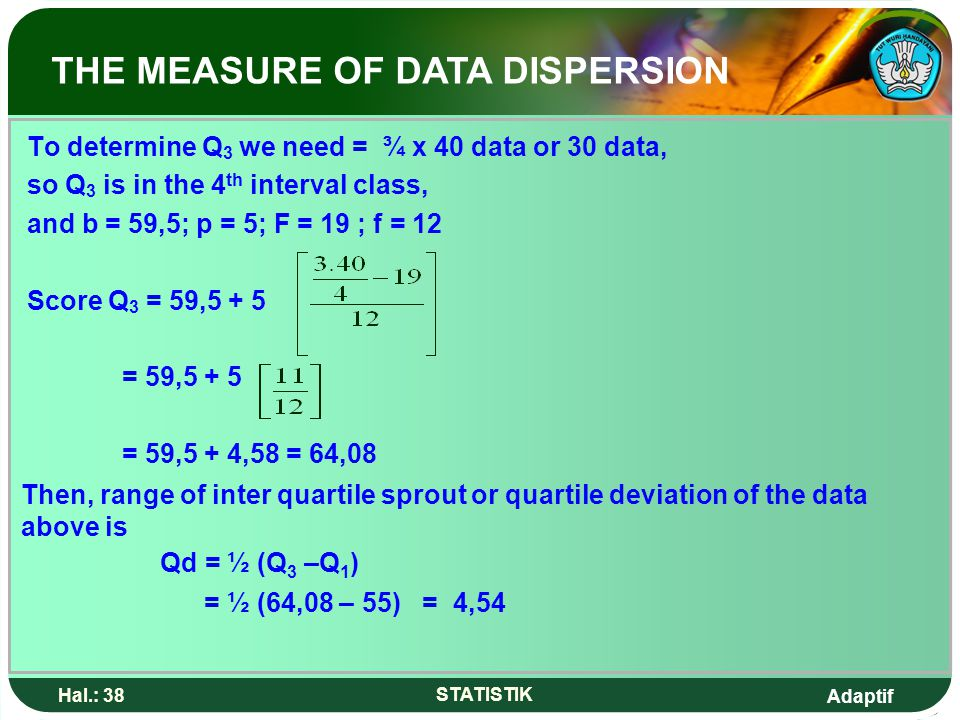 Adaptif Hal.: 38 STATISTIK To determine Q 3 we need = ¾ x 40 data or 30 data, so Q 3 is in the 4 th interval class, and b = 59,5; p = 5; F = 19 ; f =