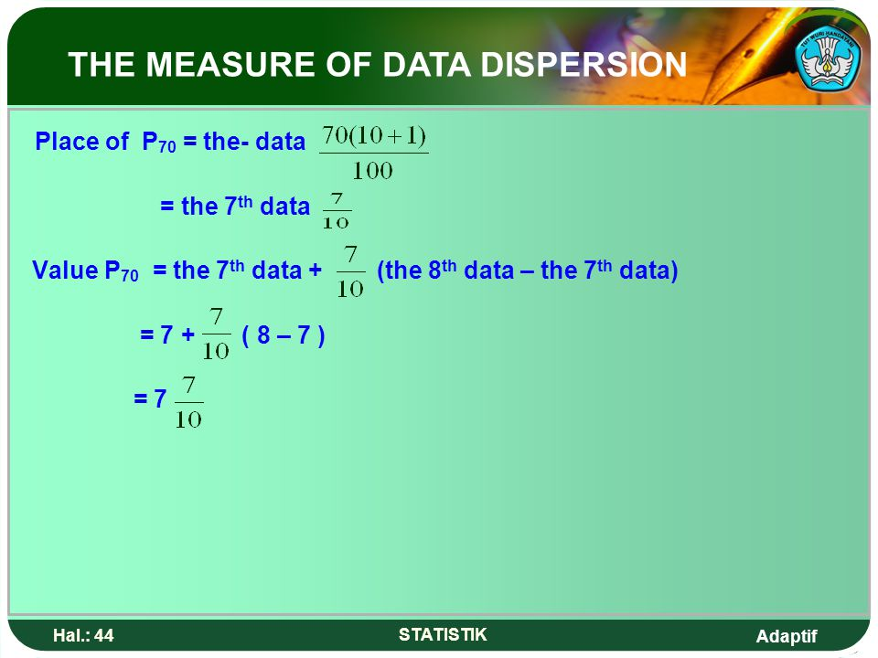 Adaptif Hal.: 44 STATISTIK Place of P 70 = the- data = the 7 th data Value P 70 = the 7 th data + (the 8 th data – the 7 th data) = 7 + ( 8 – 7 ) = 7
