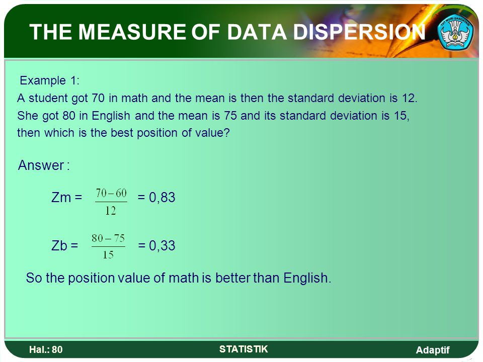 Adaptif Hal.: 80 STATISTIK THE MEASURE OF DATA DISPERSION Example 1: A student got 70 in math and the mean is then the standard deviation is 12.