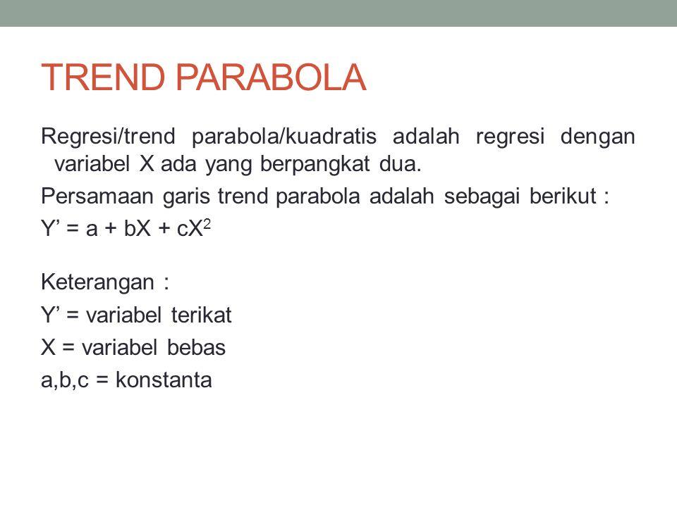 TREND PARABOLA Regresi/trend parabola/kuadratis adalah regresi dengan variabel X ada yang berpangkat dua. Persamaan garis trend parabola adalah sebaga