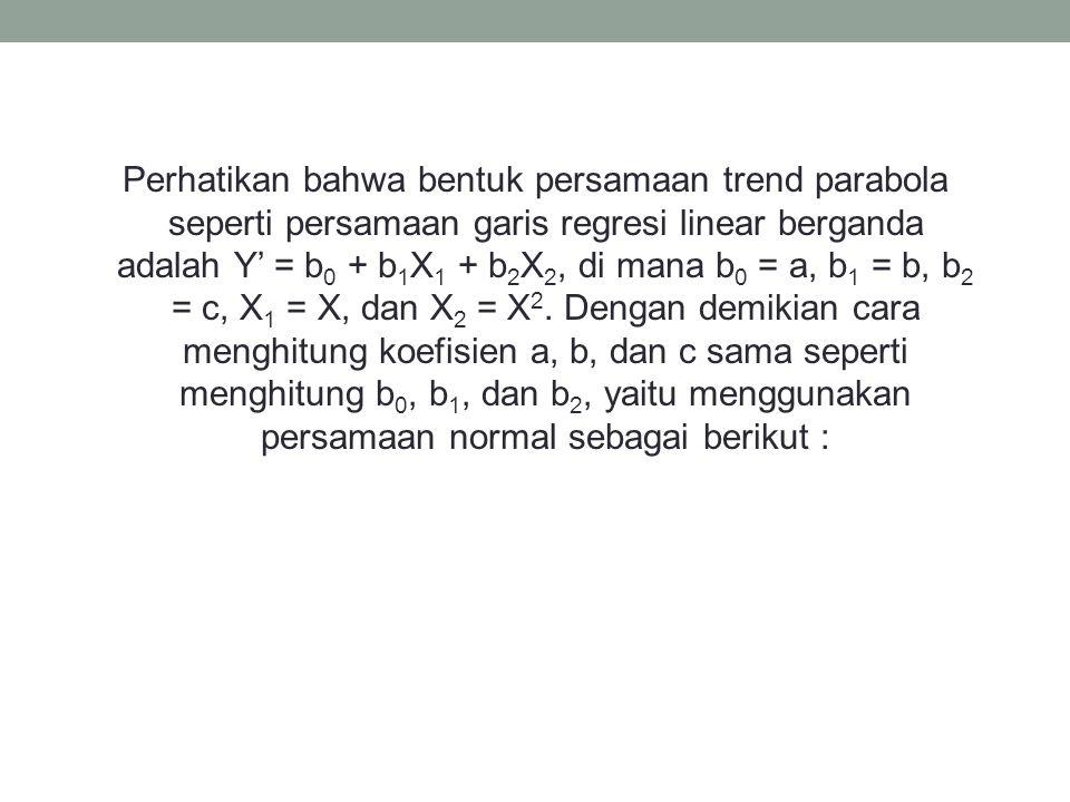 Perhatikan bahwa bentuk persamaan trend parabola seperti persamaan garis regresi linear berganda adalah Y' = b 0 + b 1 X 1 + b 2 X 2, di mana b 0 = a,