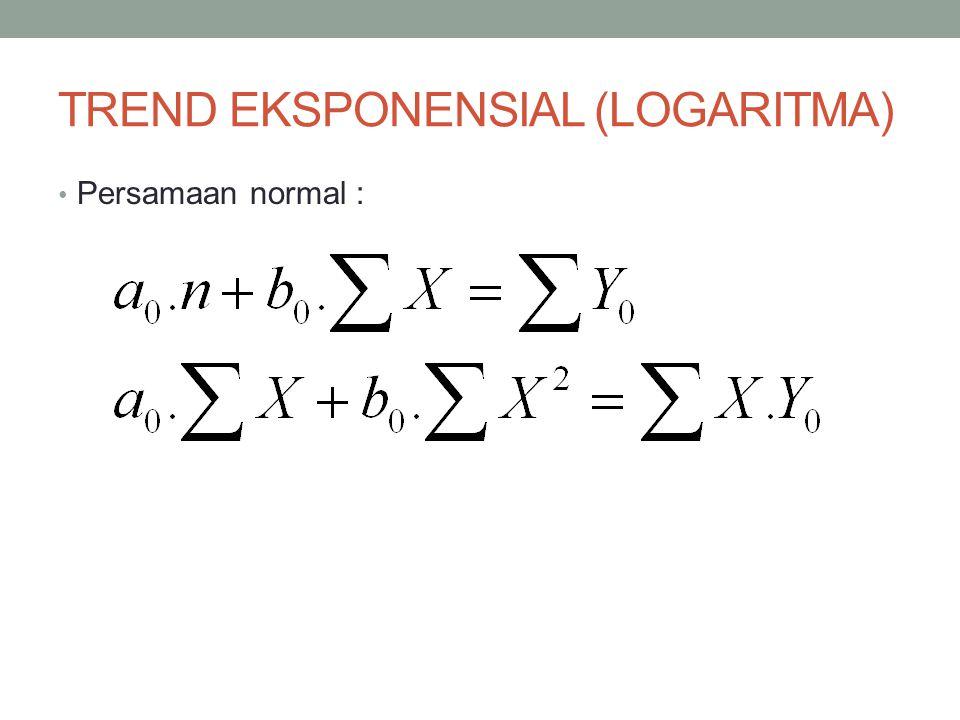 TREND EKSPONENSIAL (LOGARITMA) Persamaan normal :