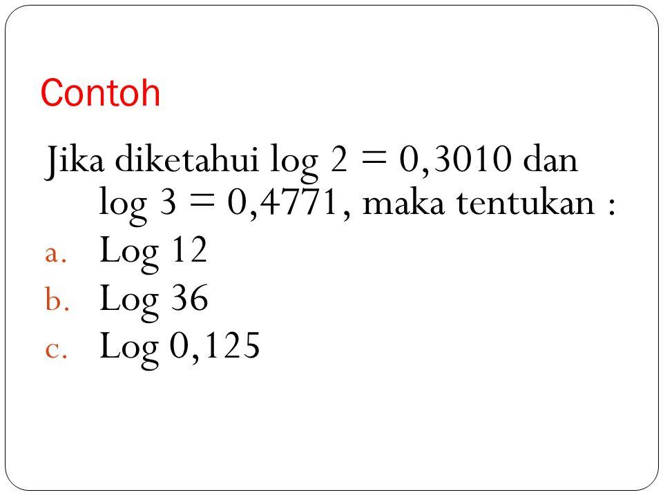 Penyelesaian c 2. 2 log 8 + 2 log √2 – 3. 2 log 1/4 = 2 log 8 2 + 2 log √2 – 2 log = 2 log (2 3 ) 2 + 2 log 2 ½ - 2 log (2 -2 ) 3 = 2 log = 2 log 2 =