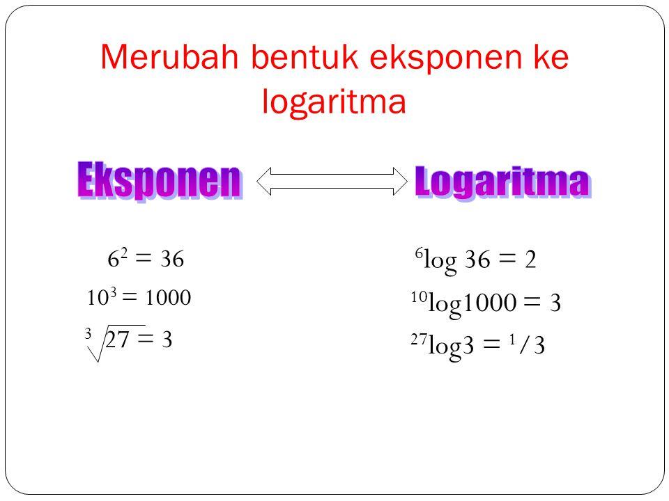 Pengertian Logaritma a log b = c jika dan hanya jika a c = b a= bilangan pokok b= bilangan yang dilogkan c= bilangan hasil logaritma Perhatikan: Catat