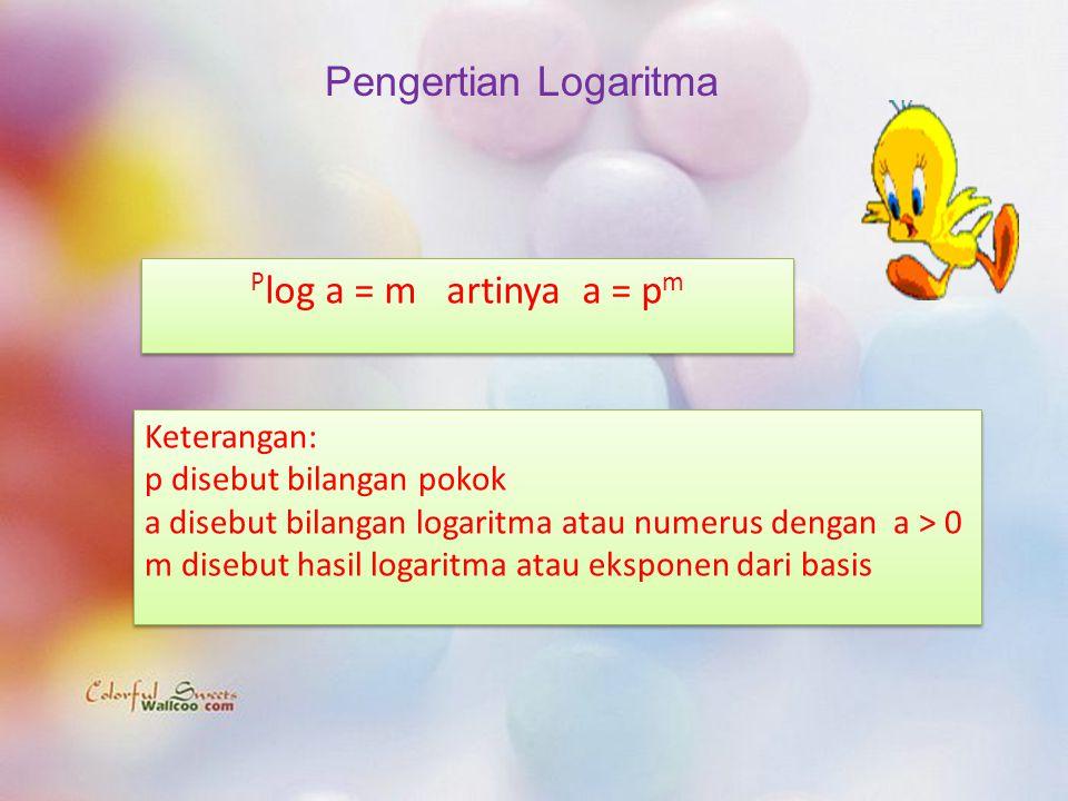 Pengertian Logaritma P log a = m artinya a = p m Keterangan: p disebut bilangan pokok a disebut bilangan logaritma atau numerus dengan a > 0 m disebut hasil logaritma atau eksponen dari basis Keterangan: p disebut bilangan pokok a disebut bilangan logaritma atau numerus dengan a > 0 m disebut hasil logaritma atau eksponen dari basis