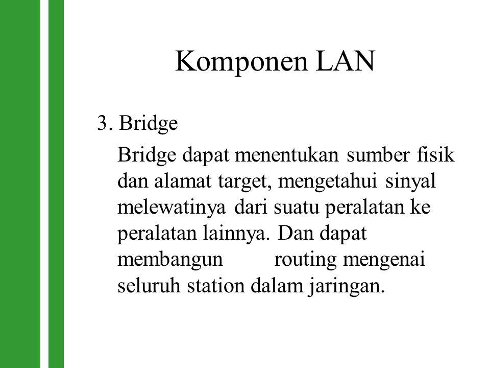 Komponen LAN 3. Bridge Bridge dapat menentukan sumber fisik dan alamat target, mengetahui sinyal melewatinya dari suatu peralatan ke peralatan lainnya
