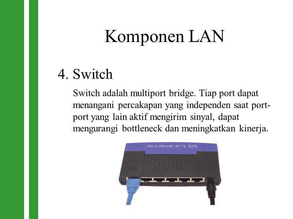 Komponen LAN 4. Switch Switch adalah multiport bridge. Tiap port dapat menangani percakapan yang independen saat port- port yang lain aktif mengirim s