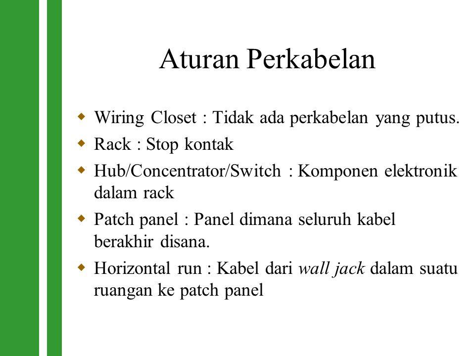 Aturan Perkabelan  Wiring Closet : Tidak ada perkabelan yang putus.  Rack : Stop kontak  Hub/Concentrator/Switch : Komponen elektronik dalam rack 