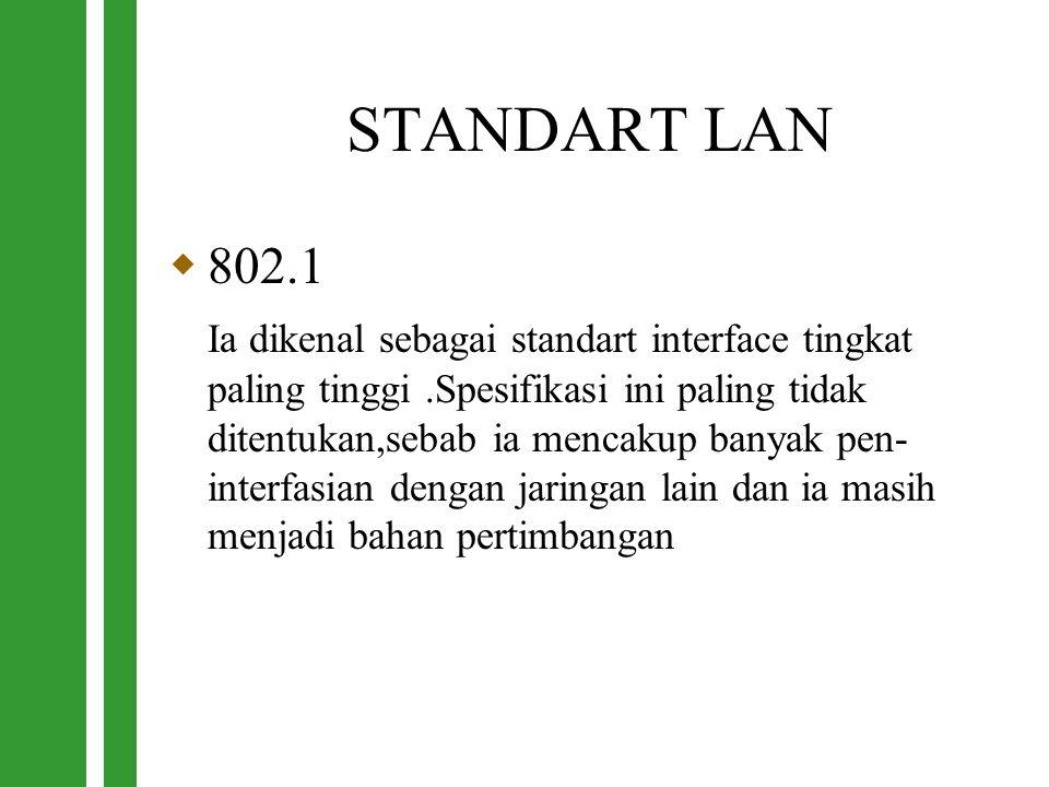 STANDART LAN  802.1 Ia dikenal sebagai standart interface tingkat paling tinggi.Spesifikasi ini paling tidak ditentukan,sebab ia mencakup banyak pen-