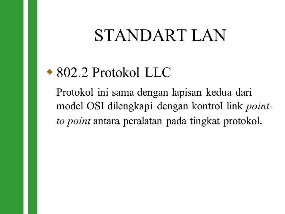 STANDART LAN  802.2 Protokol LLC Protokol ini sama dengan lapisan kedua dari model OSI dilengkapi dengan kontrol link point- to point antara peralata