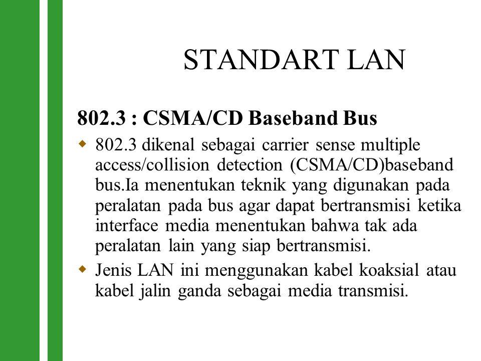STANDART LAN 802.3 : CSMA/CD Baseband Bus  802.3 dikenal sebagai carrier sense multiple access/collision detection (CSMA/CD)baseband bus.Ia menentuka