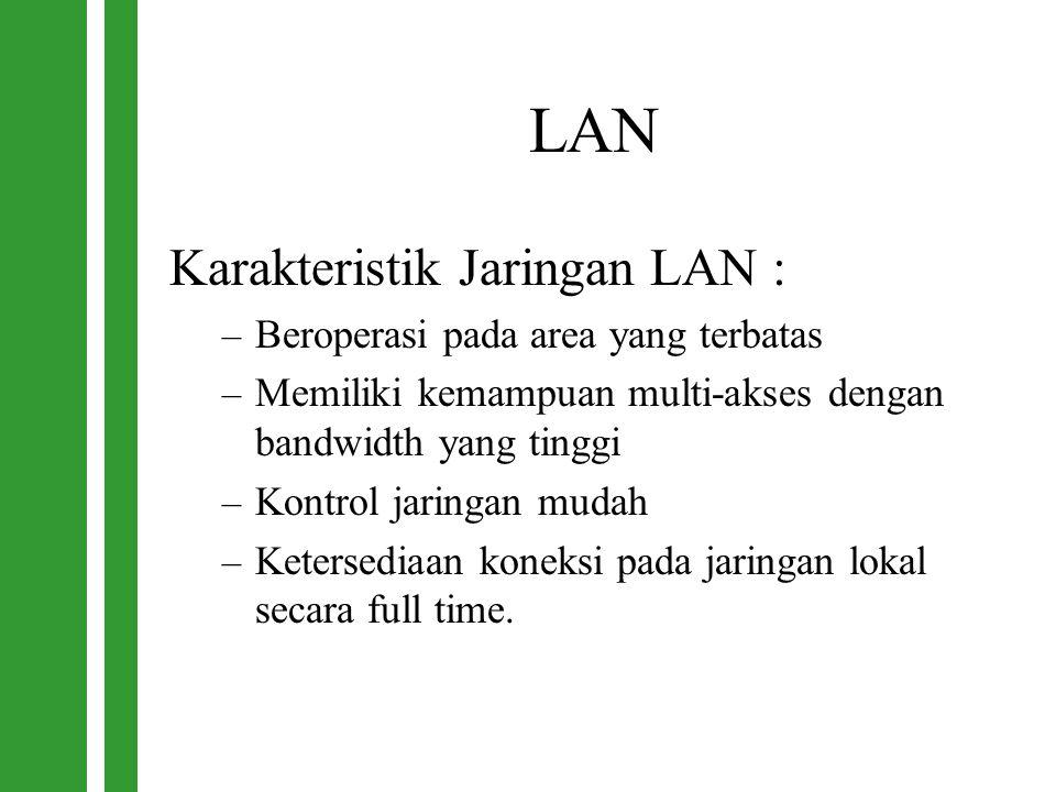 LAN Karakteristik Jaringan LAN : – Beroperasi pada area yang terbatas – Memiliki kemampuan multi-akses dengan bandwidth yang tinggi – Kontrol jaringan