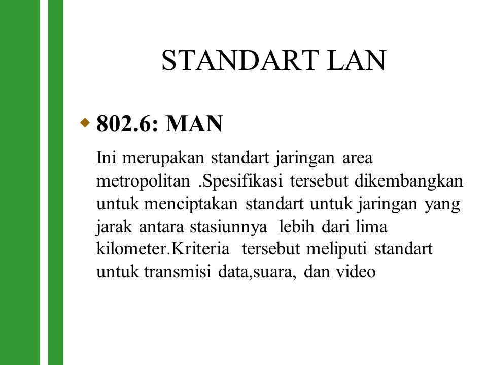 STANDART LAN  802.6: MAN Ini merupakan standart jaringan area metropolitan.Spesifikasi tersebut dikembangkan untuk menciptakan standart untuk jaringa