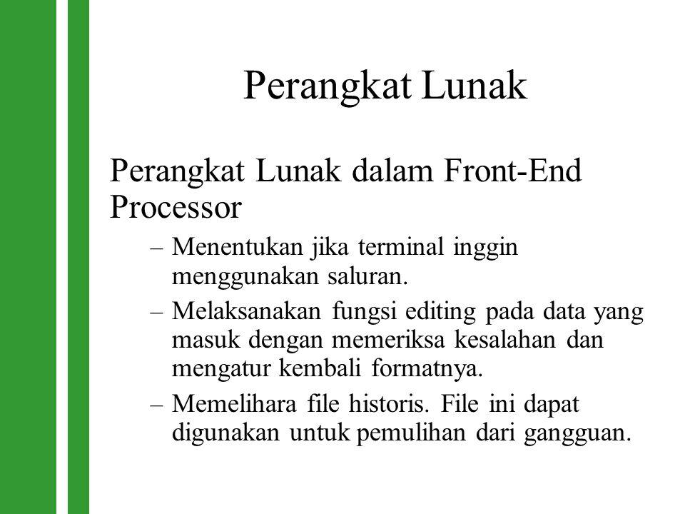Perangkat Lunak Perangkat Lunak dalam Front-End Processor – Menentukan jika terminal inggin menggunakan saluran. – Melaksanakan fungsi editing pada da