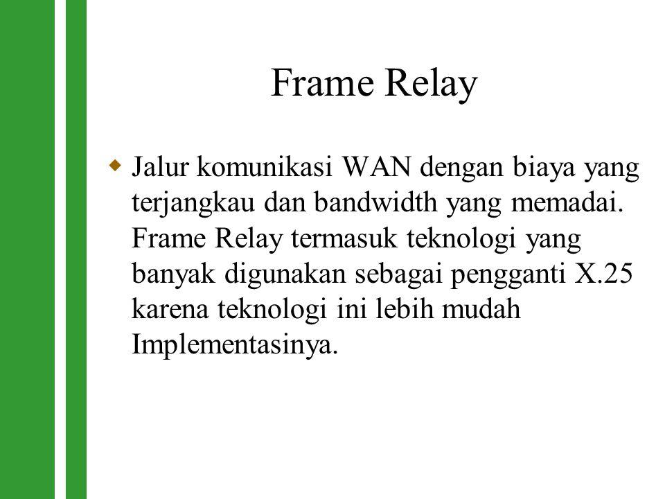 Frame Relay  Jalur komunikasi WAN dengan biaya yang terjangkau dan bandwidth yang memadai. Frame Relay termasuk teknologi yang banyak digunakan sebag