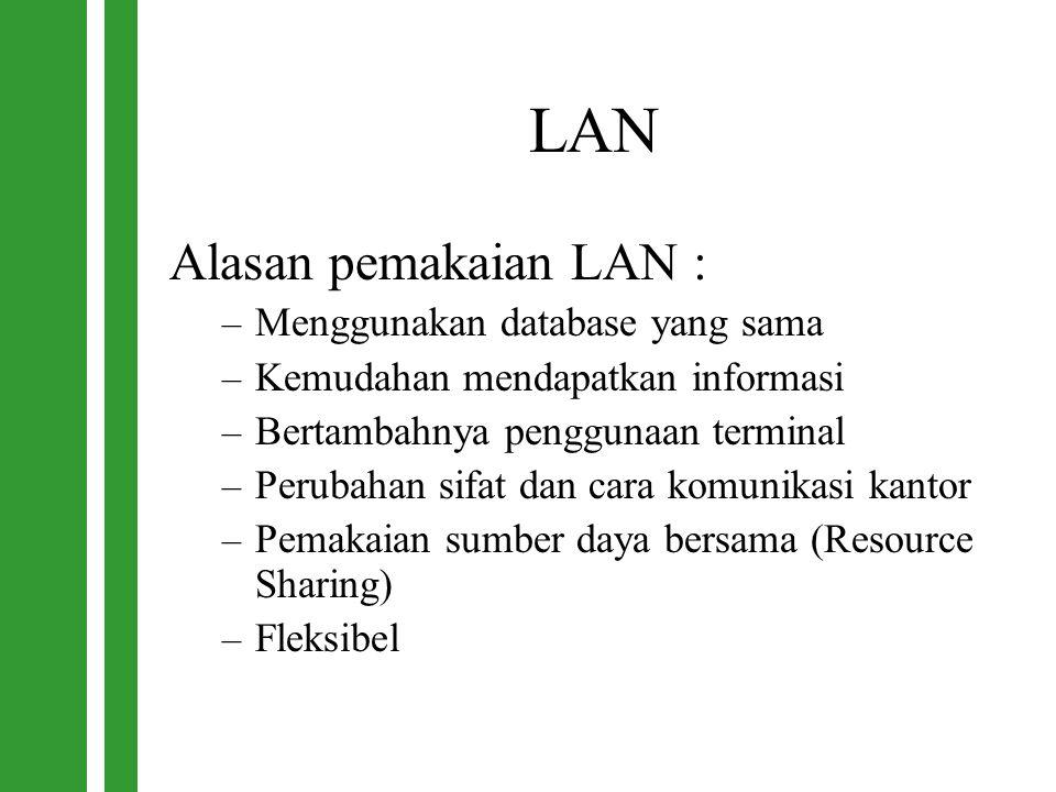 LAN Alasan pemakaian LAN : – Menggunakan database yang sama – Kemudahan mendapatkan informasi – Bertambahnya penggunaan terminal – Perubahan sifat dan
