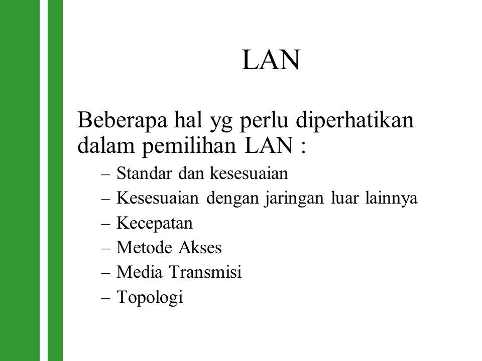 LAN Beberapa hal yg perlu diperhatikan dalam pemilihan LAN : – Standar dan kesesuaian – Kesesuaian dengan jaringan luar lainnya – Kecepatan – Metode A