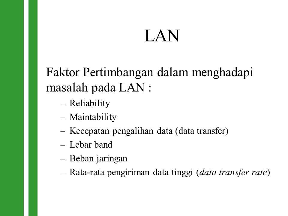 LAN Faktor Pertimbangan dalam menghadapi masalah pada LAN : – Reliability – Maintability – Kecepatan pengalihan data (data transfer) – Lebar band – Be