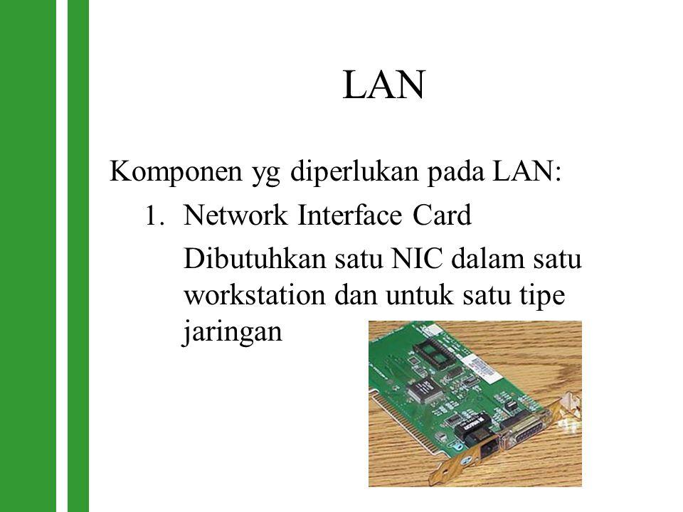 LAN Komponen yg diperlukan pada LAN: 1. Network Interface Card Dibutuhkan satu NIC dalam satu workstation dan untuk satu tipe jaringan