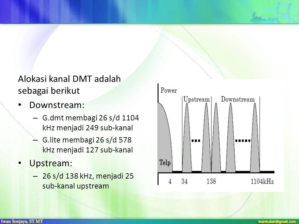 Alokasi kanal DMT adalah sebagai berikut Downstream: – G.dmt membagi 26 s/d 1104 kHz menjadi 249 sub-kanal – G.lite membagi 26 s/d 578 kHz menjadi 127 sub-kanal Upstream: – 26 s/d 138 kHz, menjadi 25 sub-kanal upstream
