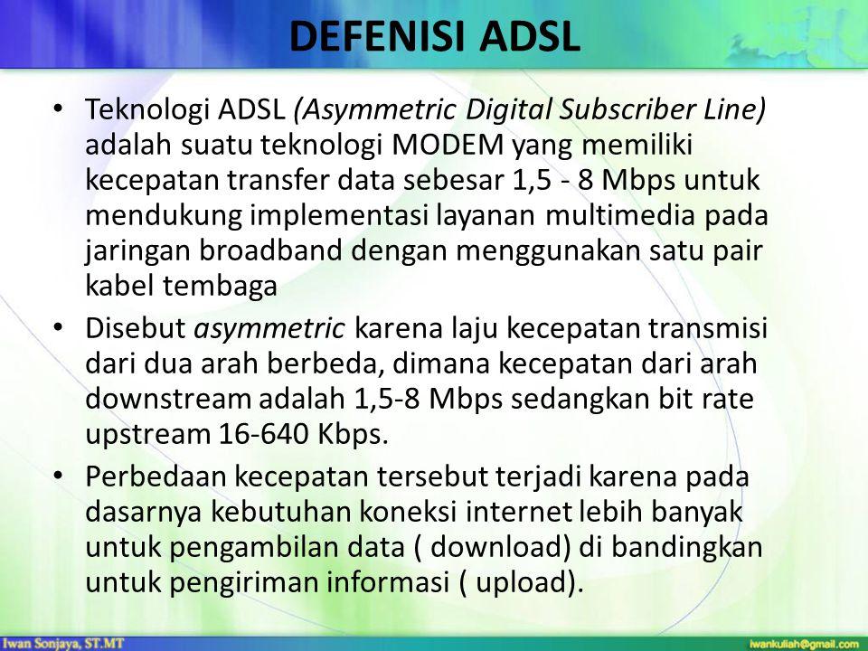 DEFENISI ADSL Teknologi ADSL (Asymmetric Digital Subscriber Line) adalah suatu teknologi MODEM yang memiliki kecepatan transfer data sebesar 1,5 - 8 Mbps untuk mendukung implementasi layanan multimedia pada jaringan broadband dengan menggunakan satu pair kabel tembaga Disebut asymmetric karena laju kecepatan transmisi dari dua arah berbeda, dimana kecepatan dari arah downstream adalah 1,5-8 Mbps sedangkan bit rate upstream 16-640 Kbps.