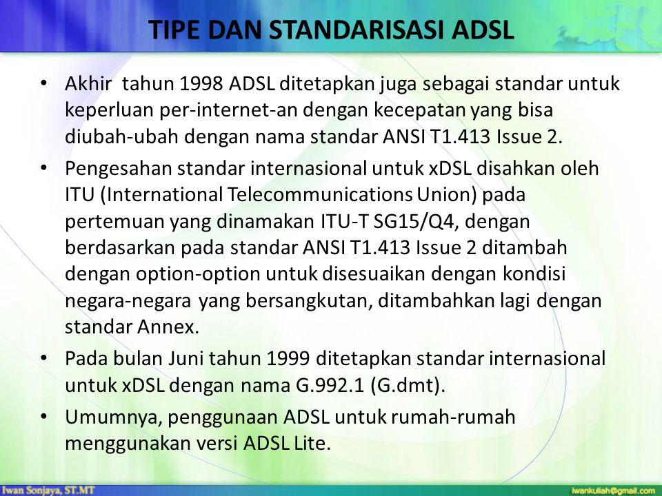 TIPE DAN STANDARISASI ADSL Akhir tahun 1998 ADSL ditetapkan juga sebagai standar untuk keperluan per-internet-an dengan kecepatan yang bisa diubah-ubah dengan nama standar ANSI T1.413 Issue 2.