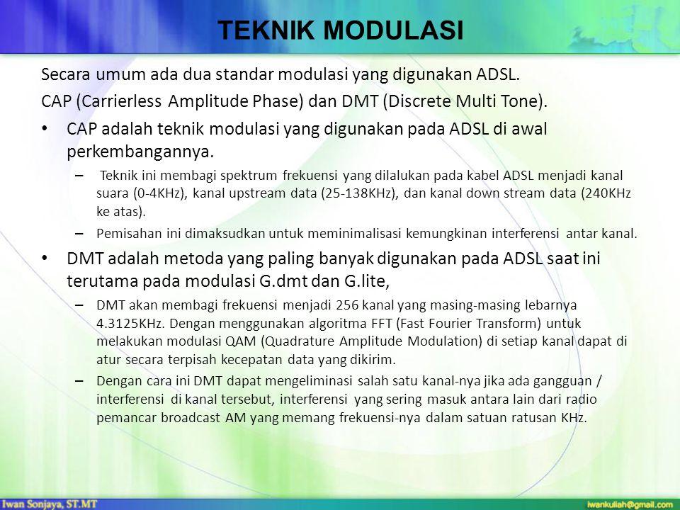 TEKNIK MODULASI Secara umum ada dua standar modulasi yang digunakan ADSL.