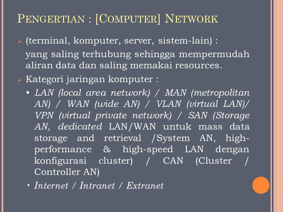 P ENGERTIAN : [C OMPUTER ] N ETWORK  (terminal, komputer, server, sistem-lain) : yang saling terhubung sehingga mempermudah aliran data dan saling memakai resources.