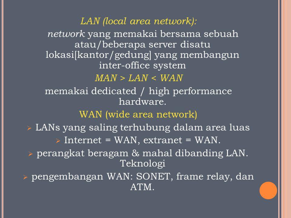 LAN (local area network): network yang memakai bersama sebuah atau/beberapa server disatu lokasi[kantor/gedung] yang membangun inter-office system MAN > LAN < WAN memakai dedicated / high performance hardware.