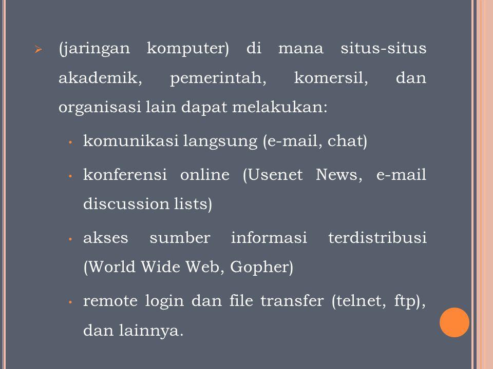  (jaringan komputer) di mana situs-situs akademik, pemerintah, komersil, dan organisasi lain dapat melakukan: komunikasi langsung (e-mail, chat) konferensi online (Usenet News, e-mail discussion lists) akses sumber informasi terdistribusi (World Wide Web, Gopher) remote login dan file transfer (telnet, ftp), dan lainnya.