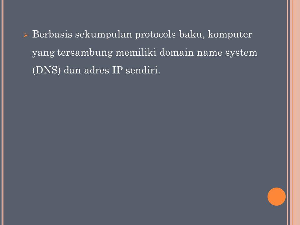 Berbasis sekumpulan protocols baku, komputer yang tersambung memiliki domain name system (DNS) dan adres IP sendiri.