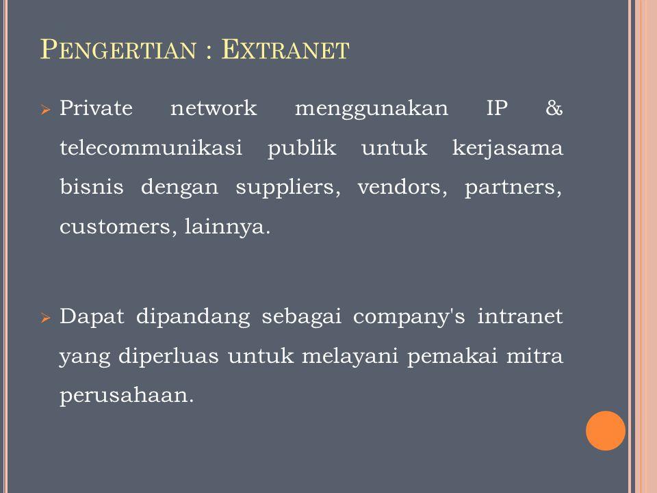P ENGERTIAN : E XTRANET  Private network menggunakan IP & telecommunikasi publik untuk kerjasama bisnis dengan suppliers, vendors, partners, customers, lainnya.