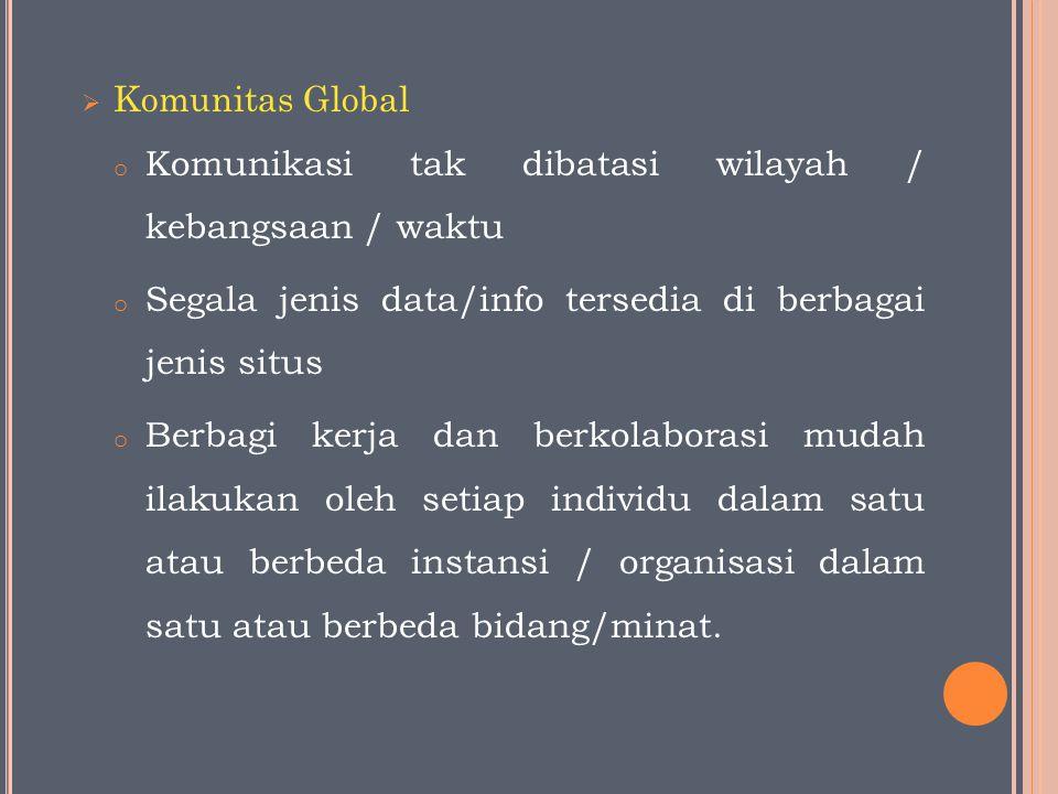  Komunitas Global o Komunikasi tak dibatasi wilayah / kebangsaan / waktu o Segala jenis data/info tersedia di berbagai jenis situs o Berbagi kerja dan berkolaborasi mudah ilakukan oleh setiap individu dalam satu atau berbeda instansi / organisasi dalam satu atau berbeda bidang/minat.
