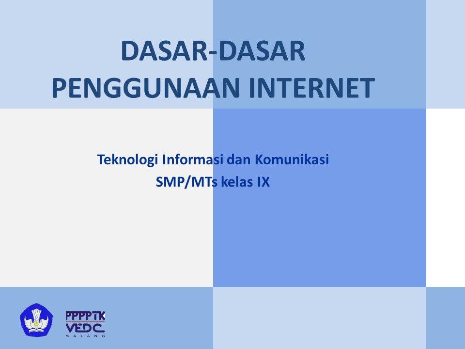 Modul Ajar TIK SMP/MTs PENGERTIAN INTERNET Internet  Interconnection Network Merupakankumpulan dari jaringan-jaringan kecil dan besar yang saling terhubung secara real-time atau terus menerus di seluruh dunia.