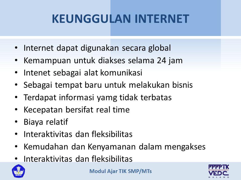 Modul Ajar TIK SMP/MTs KEUNGGULAN INTERNET Internet dapat digunakan secara global Kemampuan untuk diakses selama 24 jam Intenet sebagai alat komunikas