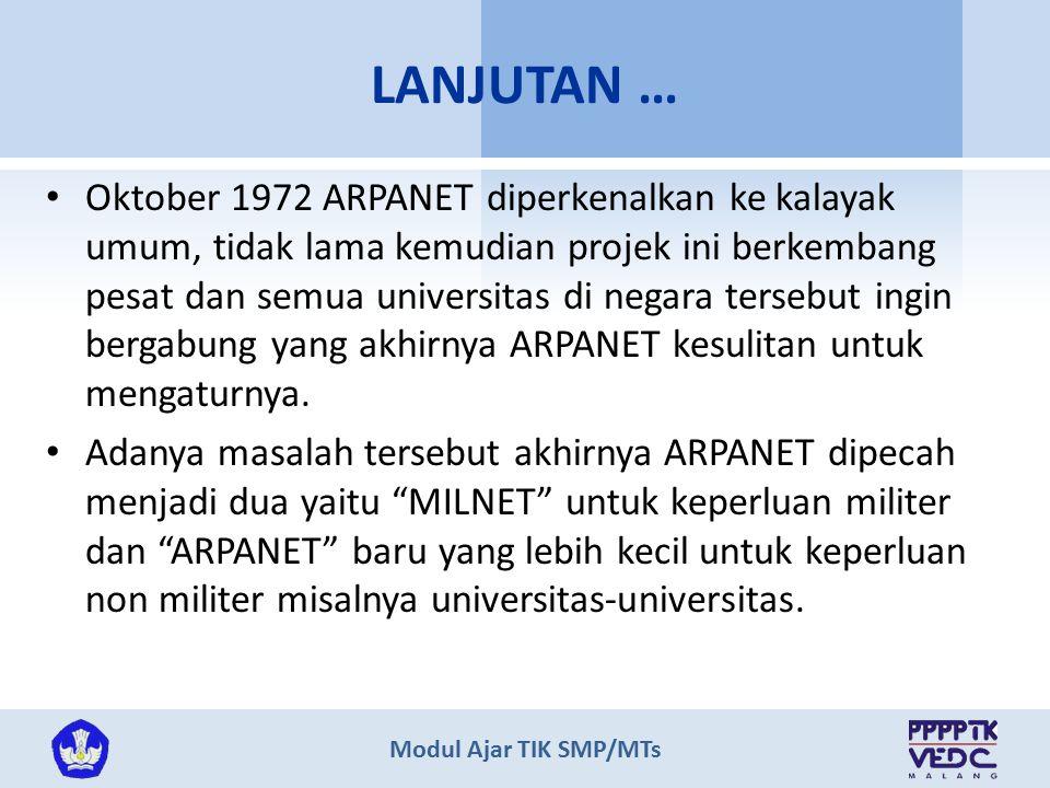 Modul Ajar TIK SMP/MTs Oktober 1972 ARPANET diperkenalkan ke kalayak umum, tidak lama kemudian projek ini berkembang pesat dan semua universitas di ne