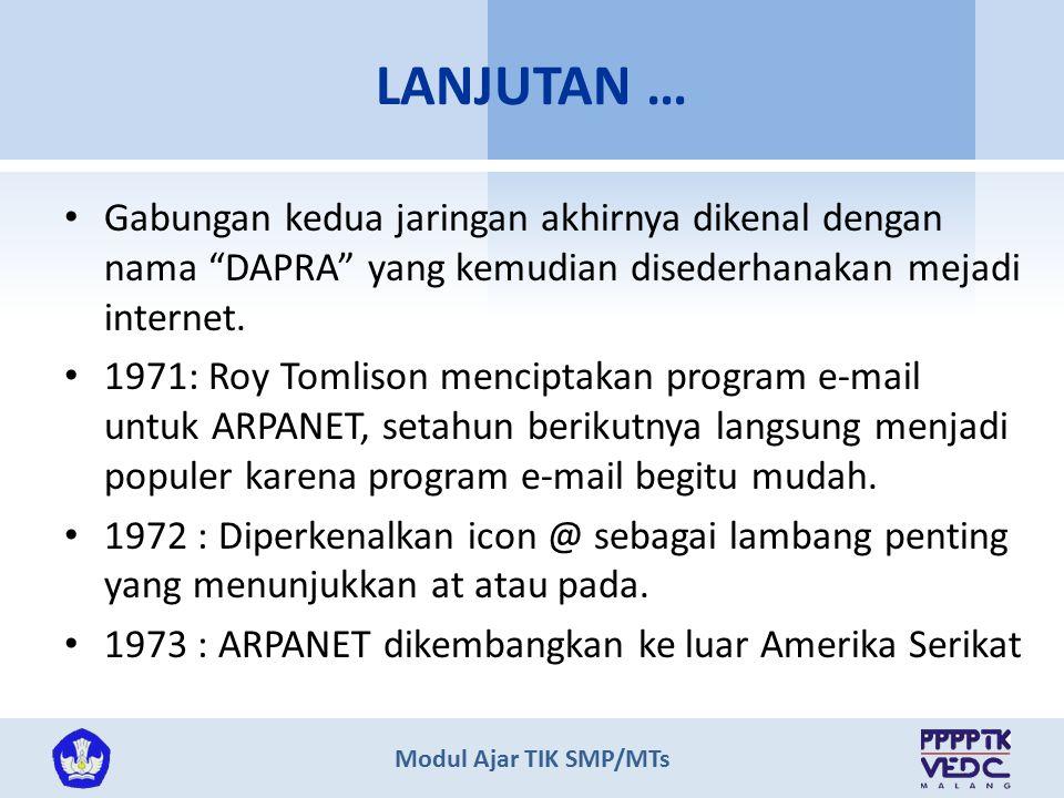 """Modul Ajar TIK SMP/MTs Gabungan kedua jaringan akhirnya dikenal dengan nama """"DAPRA"""" yang kemudian disederhanakan mejadi internet. 1971: Roy Tomlison m"""