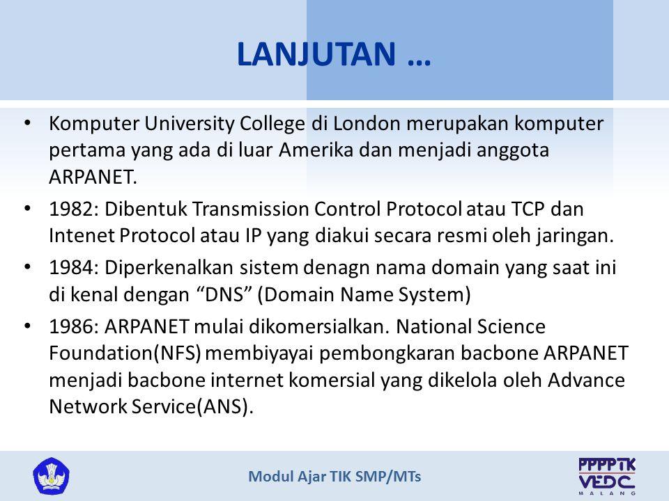 Modul Ajar TIK SMP/MTs Komputer University College di London merupakan komputer pertama yang ada di luar Amerika dan menjadi anggota ARPANET. 1982: Di
