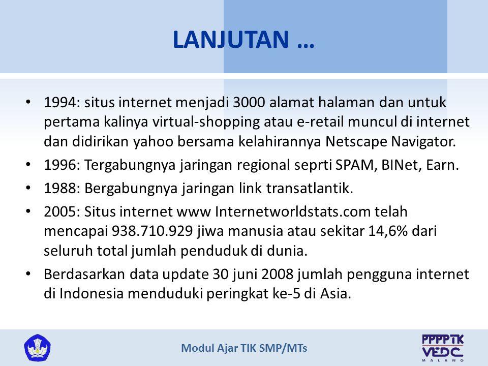 Modul Ajar TIK SMP/MTs 1994: situs internet menjadi 3000 alamat halaman dan untuk pertama kalinya virtual-shopping atau e-retail muncul di internet da