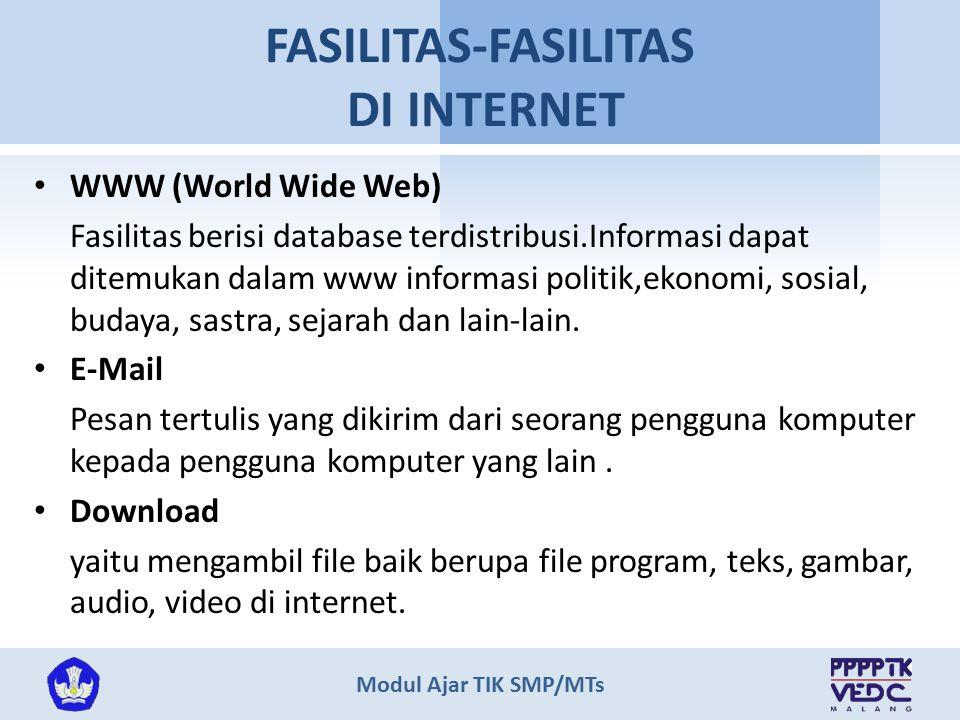 Modul Ajar TIK SMP/MTs FASILITAS-FASILITAS DI INTERNET WWW (World Wide Web) Fasilitas berisi database terdistribusi.Informasi dapat ditemukan dalam ww