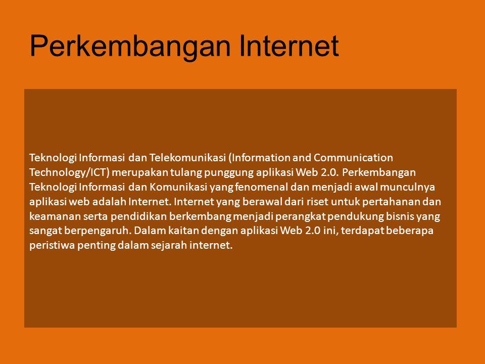Perkembangan Internet Teknologi Informasi dan Telekomunikasi (Information and Communication Technology/ICT) merupakan tulang punggung aplikasi Web 2.0.