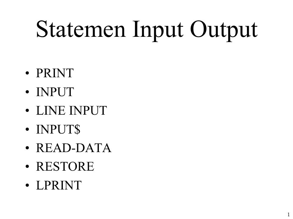 2 PRINT Digunakan untuk menampilkan informasi/tulisan ke layar Dapat menggunakan tanda pemisah berupa –Titik koma (;) –Koma (,) Dapat menggunakan berapa fungsi seperti –TAB –SPACE$ Dapat melakukan pengaturan format tampilan nilai dengan menggunakan USING