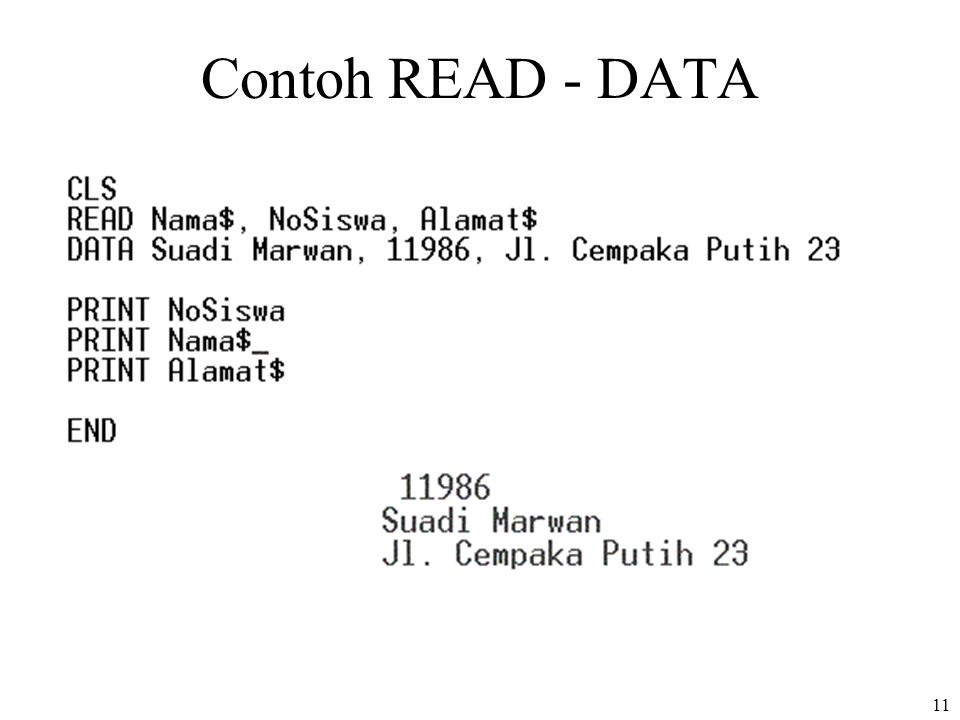 11 Contoh READ - DATA