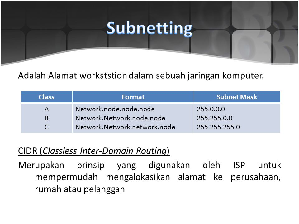 Adalah Alamat workststion dalam sebuah jaringan komputer.