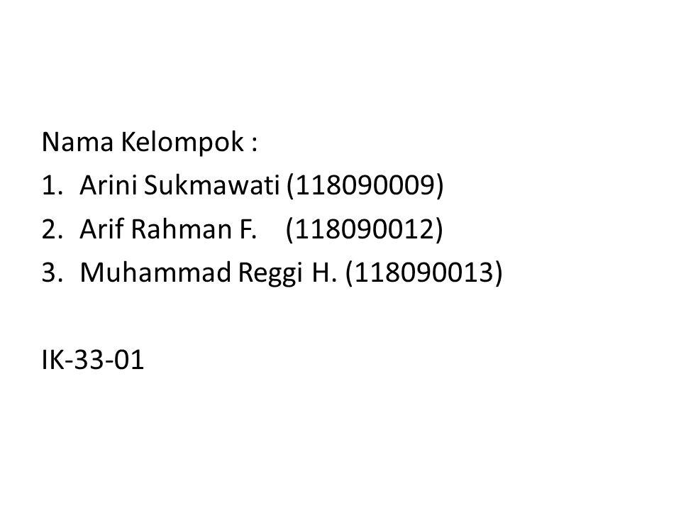 Nama Kelompok : 1.Arini Sukmawati (118090009) 2.Arif Rahman F.