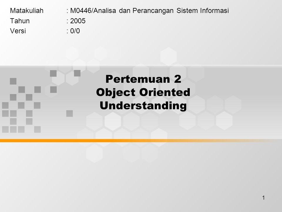 1 Pertemuan 2 Object Oriented Understanding Matakuliah: M0446/Analisa dan Perancangan Sistem Informasi Tahun: 2005 Versi: 0/0