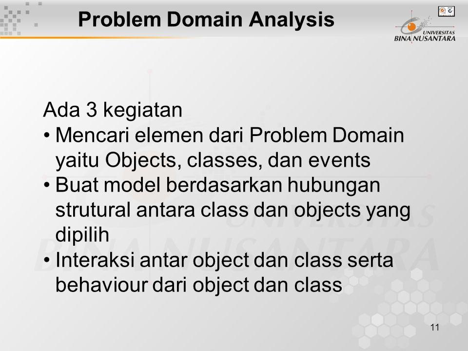 11 Problem Domain Analysis Ada 3 kegiatan Mencari elemen dari Problem Domain yaitu Objects, classes, dan events Buat model berdasarkan hubungan strutural antara class dan objects yang dipilih Interaksi antar object dan class serta behaviour dari object dan class