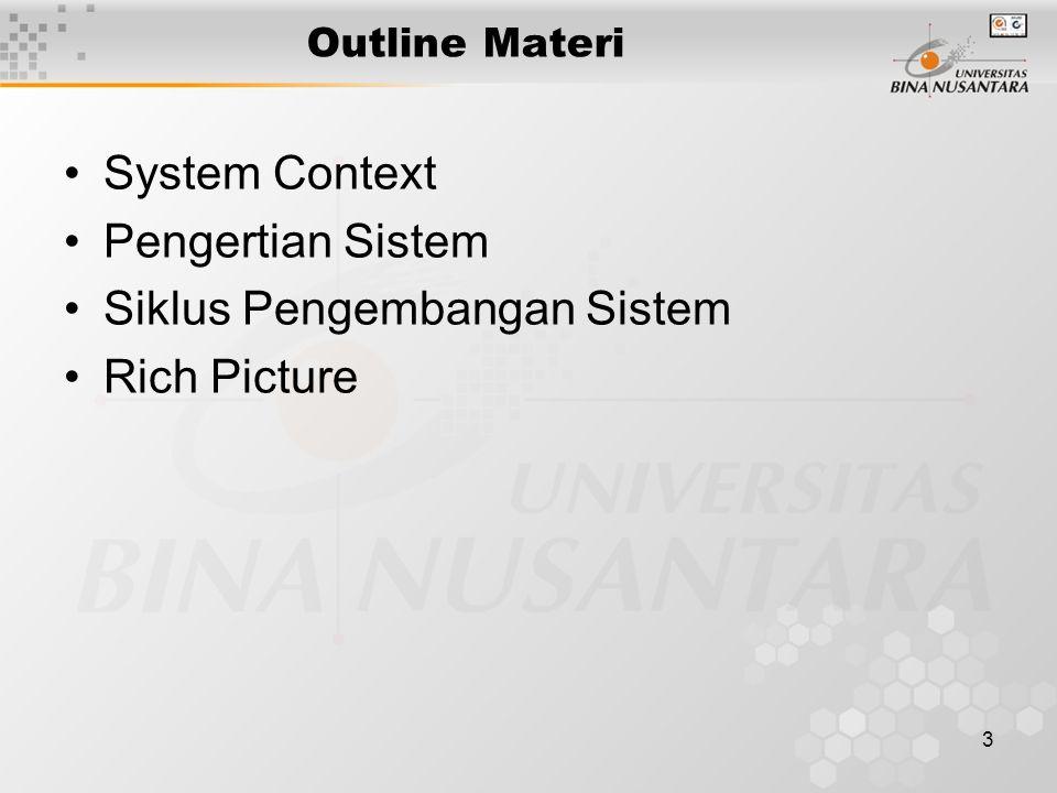 3 Outline Materi System Context Pengertian Sistem Siklus Pengembangan Sistem Rich Picture