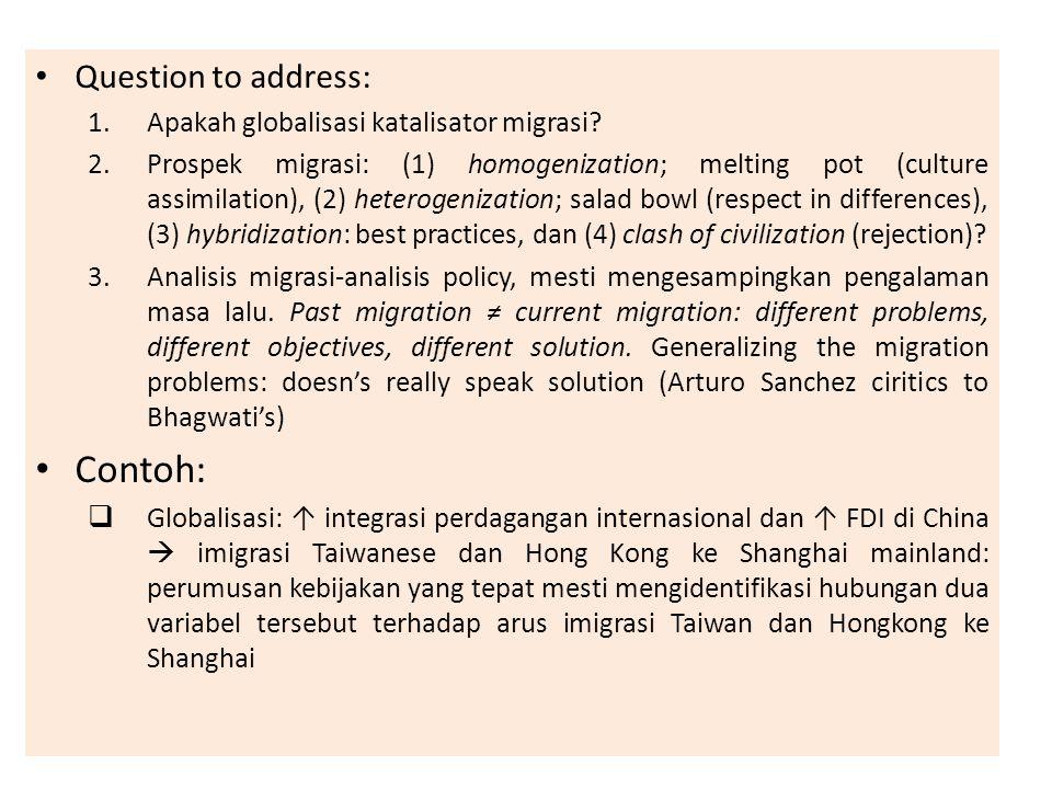 Question to address: 1.Apakah globalisasi katalisator migrasi? 2.Prospek migrasi: (1) homogenization; melting pot (culture assimilation), (2) heteroge